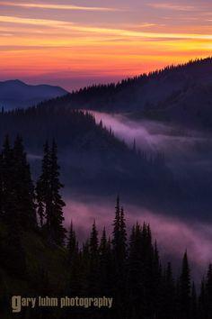 Sunset looking west from Hurricane RIdge, Olympic National Park, Washington State