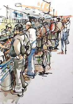 Drawing People - I love sketching busy places. One place that's guaranteed to have a crowd ( and good pastries) is the Whole Foods Market not far from home. Capturing crowds of people and color and texture is… Sketchbook Drawings, Easy Drawings, Drawing Sketches, Pen Drawings, Travel Sketchbook, Sketches Of People, Drawing People, Perspective Art, Urban Sketchers