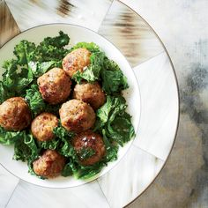 Veal Meatballs with Mustard Greens Recipe - Hugh Acheson | Food & Wine