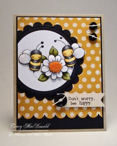 Cute Bee-themed card - perfect Georgia Tech colors! Spring Bees by TracyMac - Cards and Paper Crafts at Splitcoaststampers