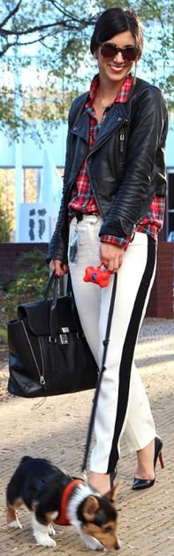 edgy chic - black leather jacket / red and blue plaid shirt /  necklace / white with black side stripe pants / black heels / black purse