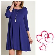 Sale Tres Chic Relaxed Fit Dress M was $29 Très chic Relaxed Fit Dress *Don't be surprised if you see a picture of yourself in this dress when you google the word chic.  Staple for any wardrobe. COTTON BLEND.  Cobalt Blue.  *Goes great with a bold necklace and Sandals. No Trades  ✅ Price Firm Unless Bundling✅ Dresses Midi