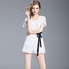 b8044bb2c2b Jumpsuits for Women 2017 White Lace Romper Women Short Sleeve Sexy Overalls  Sash Playsuits Summer Beach Bodysuits