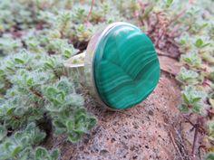 Malachite ring, approx. 7 3/4 size, flat band shank. #136