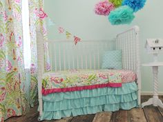 Aqua, Pink, Yellow, and Green Toddler Bedding Set with Aqua Ruffled Skirt by TushiesTantrumsInc on Etsy https://www.etsy.com/listing/182971974/aqua-pink-yellow-and-green-toddler