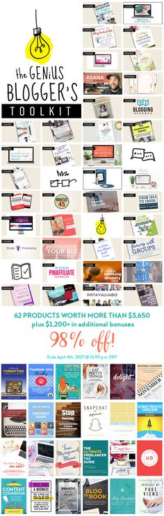 LAST DAY - FLASH SALE!! The Genius Blogger's Toolkit is a bundle of 24 ebooks, 33 ecourses + audio and 5 printable packs (and 17 bonuses) that's only available for TWO DAYS: April 3 - April 4, 2017. The best part is that the entire bundle (worth well over $5000) is only $97!! Yep, that's not a typo! Click here right now to get in on it before it's gone forever.