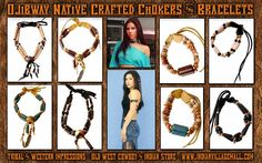 Ojibway Native Made Primitive Images Chokers And Matching Bracelet Sets from Tribal And Western IMpressions- Old West Cowboy And Indian Store - www.indianvillagemall.com