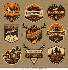 Set of summer camping outdoor adventure and mountain badge logo, emblem logo, label design Badge Design, Label Design, Design Design, Camp Logo, Logo Outline, Logo Minimalista, Outdoor Logos, Logos Retro, Logo Vintage