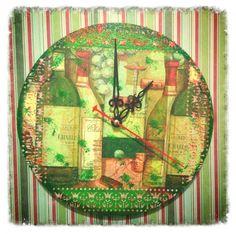 часы - декупаж с применением текстурной пасты