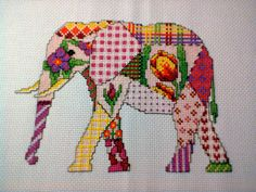 Patchwork Elephant Cross Stitch PDF Pattern от Chartsandstuff