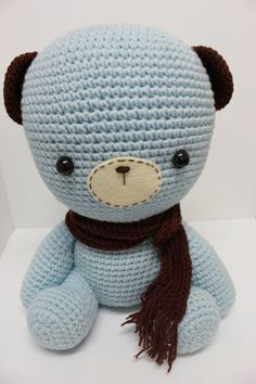 Unique handmade crochet doll bear- Lovely Big Blue Bear (raggedy ann doll)