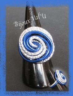BAGUE EN FIL D'ALUMINIUM Argent et bleu royal Taille 60 : Bague par bijoux-valu