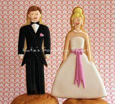 Wedding Cake Topper Cookies  by Katie's Something Sweet