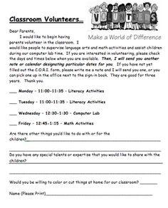 Back to School Volunteer Letter -