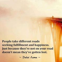 People take different roads seeking fulfillment and happiness. Just because they're not on your road doesn't mean they've gotten lost. #DalaiLama