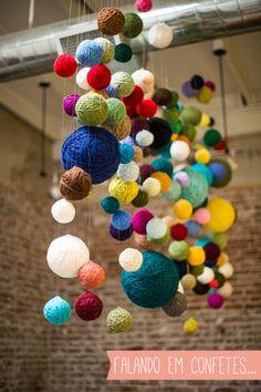 novelos de lã na decoração