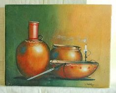 Southwest Clay Pot Painting Still Life David Pagoda Moody Small Scale Oil Canvas