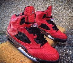 Custom Jordan 5s Python Red