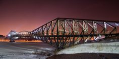Steel Bridge over St. Lawrence River, Quebec, Canada