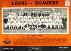 Game program for Winnipeg Blue Bombers at B. Empire Stadium, Vancouver, B. Winnipeg Blue Bombers, Canadian Football League, Football Icon, Football Conference, Lions, Legends, Nfl, Memories, Retro