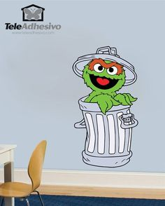 Vinilos Infantiles: Oscar cubo de basura #vinilodecorativo #decoracion #teleadhesivo #BarrioSesamo #SesameStreet #Sesame #Sesamo #Oscar