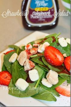 Best Salad EVER! Strawberry Spinach Chicken Salad #recipe #salad #keepingitsimple