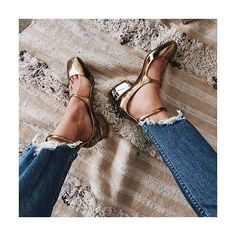 "GO FOR THE GOLD: Described as  a ""modern take on the classic Mary Jane"", #JimmyChoo's 'Wilbur' pumps pair perfectly with everything from dresses to cropped denim.  Search 705864 to shop @jimmychoo at #NETAPORTER #SeeItBuyItLoveIt.  #Regram from @songofstyle"