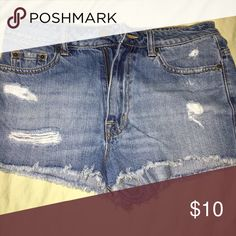 High waisted shorts! High waisted distressed jean shorts! BDG Shorts Jean Shorts