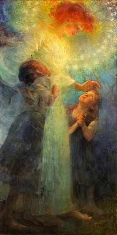 Franz Dvorak (Czech, 1862-1927). Strážný anděl (Guardian Angel)