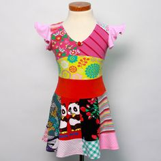 Size 2T up to 4T girls upcycled tshirt twirl dress by dressme, $45.00