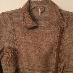 """SALEHP Free People brown moto zip jacket Jacket has darker patches for an intentionally distressed look. Zip cuff sleeves add to the motorcycle jacket feel. Cotton/polyester/rayon. Machine wash. Underarm across 16"""". Length range 18-22"""". Bundle for even bigger savings! Offers welcome. No trades. Free People Jackets & Coats"""