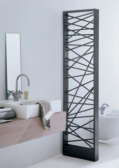 Mike designer radiator: an impressive contemporary steel radiator. It gives stylish interior decoration for the house. This designer radiator can be installed as room divider and is availabl Home Radiators, Bathroom Radiators, Bathroom Heater, Bathroom Furniture, Furniture Ideas, Bad Inspiration, Bathroom Inspiration, Bathroom Ideas, Decorative Radiators