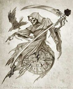 Skull reaper raven rose