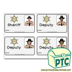 Sheriff's Department Role Play Resources - Primary Treasure Chest Role Play Topics, Sheriff Department, People Who Help Us, Ourselves Topic, Teaching Activities, Id Badge, Classroom, Children, Class Room