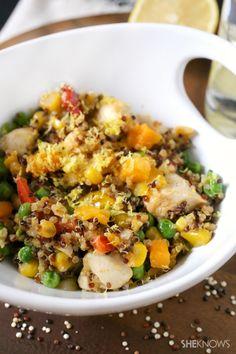 Chicken, squash and quinoa stir-fry. I have a pretty big jones for quinoa lately...