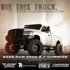 Great truck- equipped with great parts and tuning! -  @hizenburg_sss @americanforcewheels @fusionbumpers @mcgaughys  enter to win this truck at dieselpowergear.com - Click the link on our profile 4x4 Trucks, Diesel Trucks, Cummins Girl, Enter To Win, Dream Cars, Monster Trucks, Brother, Profile, Link