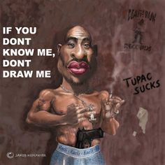 Caricature of Tupac Caricatures, Illustration, Draw, Movie Posters, Painting, To Draw, Film Poster, Painting Art, Tekenen