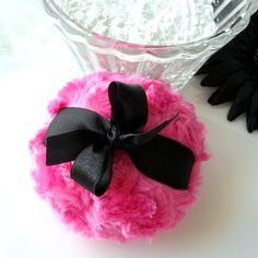 Powder Puff  cherry pink and black powderpuff  by BonnyBubbles, $11.95