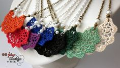 like this idea - could be many made from many different crochet designs: Crochet Fan necklace by Eejay Design