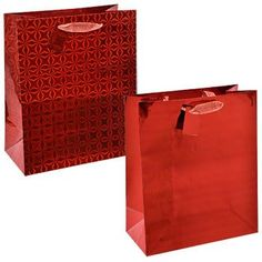 4 x Medium Holographic Gift Bags gold silver red purple