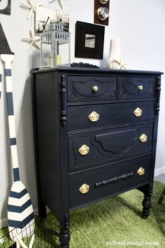 Nautical Coastal Style Before and After Painted Furniture Makeover   Navy Maison Blanche Vintage Furniture Paint