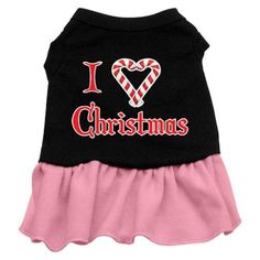 Mirage Pet Products 18-Inch I Love Christmas Screen Print Dress * See this awesome image  : Dog Dresses