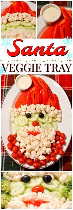 This Santa Veggie Tray will make a great, healthy center-piece to your Holiday s. This Santa Veggie Tray will make a great, healthy center-piece to your Holiday snacks! Christmas Veggie Tray, Christmas Food Gifts, Christmas Brunch, Christmas Cooking, Christmas Holidays, Elegant Christmas, Christmas Ideas, Christmas Decorations, Healthy Holiday Recipes