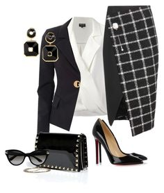 """""""Check Skirt"""" by andreaaitken ❤ liked on Polyvore featuring Giorgio Armani, Balenciaga, Versace, Christian Louboutin, Valentino and Maria Canale"""