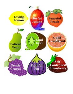 Objectives:  * To learn what the Fruits of the Spirit are and what they mean  * To create a visual representation of the Fruits of the Spiri...