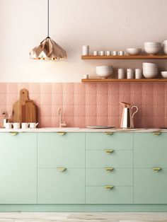 42 Extraordinary Green Kitchen Decor - More and more today, the kitchen is the most popular room in the house. No longer just the place where food is stored and prepared, it has become the . Kitchen Cabinet Trends, Kitchen Interior, Kitchen Design Color, Kitchen Design Small, Mint Green Kitchen, Copper Kitchen Backsplash, Copper Kitchen, Kitchen Cupboards, Kitchen Cabinet Colors