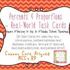 $  This product contains 24 task cards which focus on CCSS MCC7.RP.They are all about using percents and proportions in the real-world!Concepts ad...