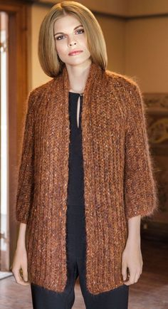 Easy Knitting Patterns for Beginners - How to Get Started Quickly? Ladies Cardigan Knitting Patterns, Crochet Cardigan Pattern, Crochet Jacket, Sweater Knitting Patterns, Knit Crochet, Knit Jacket, Knitted Coat, Jacket Pattern, Knit Fashion