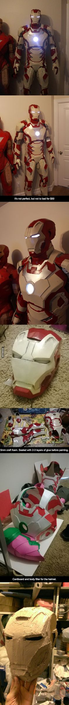 $50 Homemade Iron Man. Totally going to make this one day...
