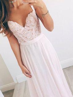 一条线甜心脖子浅粉色长花边舞会礼服,浅粉红色蕾丝礼服,伴娘礼服
